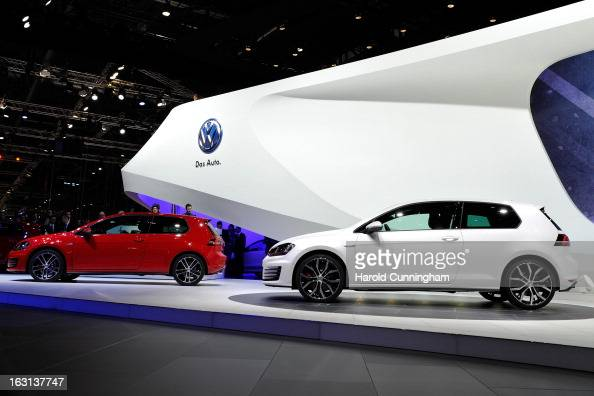 Two VW Golf named European Car of the Year 2013 are seen during the 83rd Geneva Motor Show on March 5 2013 in Geneva Switzerland Held annually the...