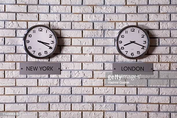 two wall clocks showing time in New York and London