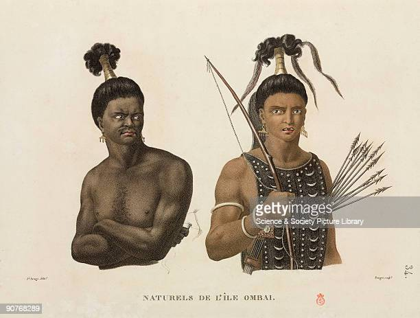 Two warriors from Ombai now part of Indonesia one holds a bow and arrows Illustration from �Voyage autour du monde entrepris par ordre du Roi_execute...