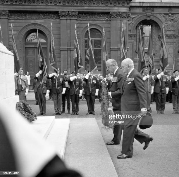 Two wartime commanders in SouthEast Asia meet at the Cenotaph in Whitehall London for the Burma Star Association's annual Remembrance Parade Admiral...