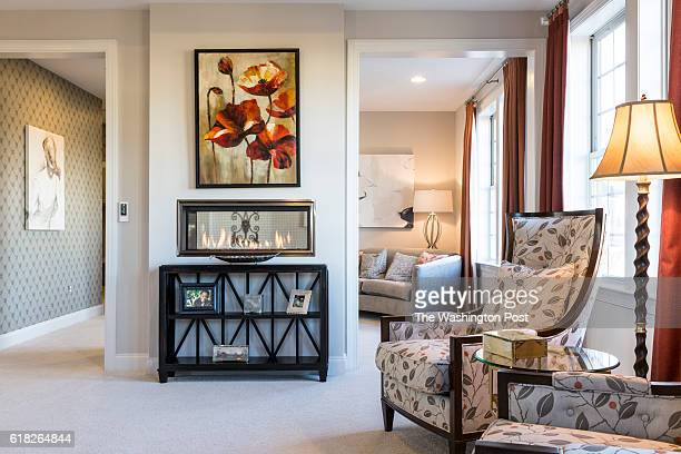 Two Way Fireplace between the Bedroom and Sitting Room in the Second Floor Master Suite in the Hawthorn Model at Maple Lawn on January 19 2016 in...