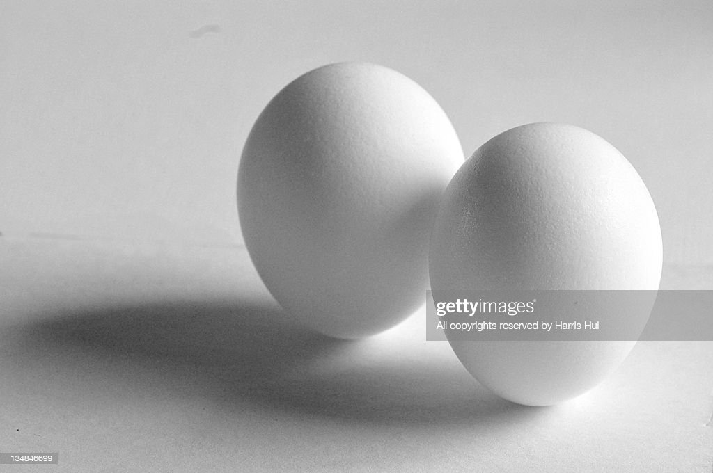Two white eggs : Stock Photo