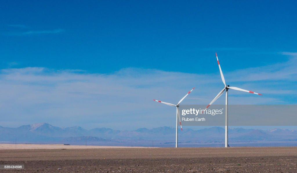 Two wind turbine in the desert