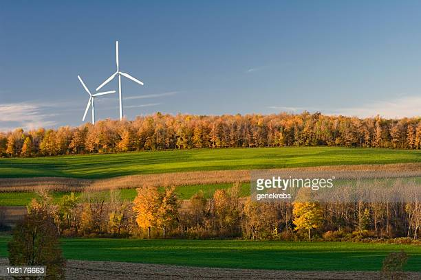 Two Wind Turbines at Twilight in Autumn