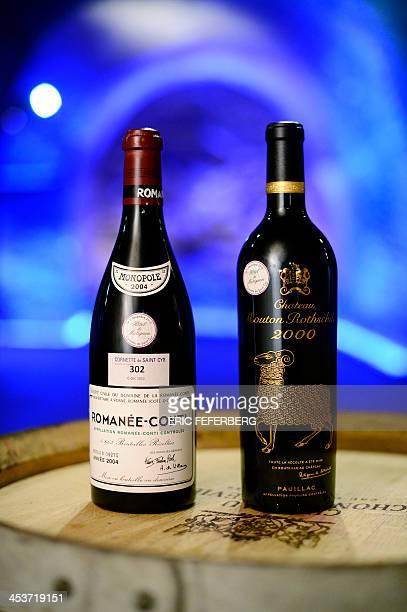 Two wine bottles one RomaneeConti and one Chateau Mouton Rothschild from the cellars of the Hotel Matignon the French Prime Minister official...