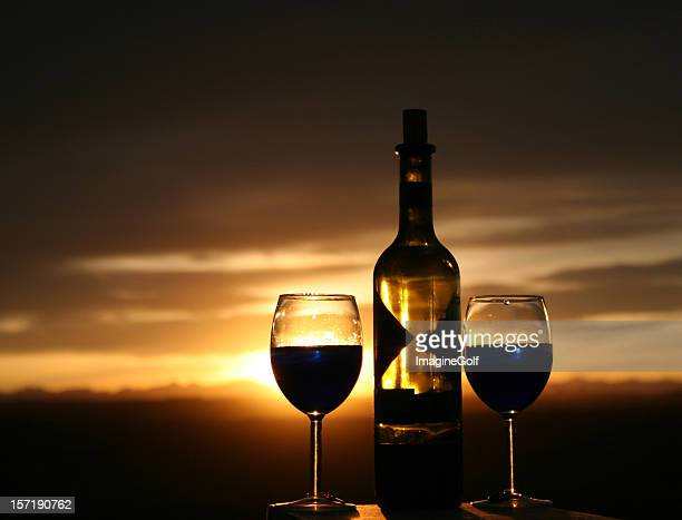 Two Wine Glasses And Bottle of Cabernet Silhouette