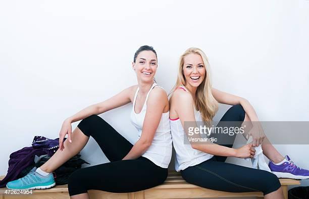 Two woman in locker room