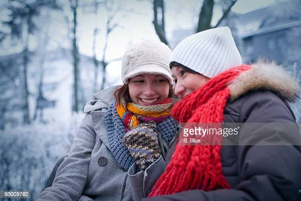 two woman in park