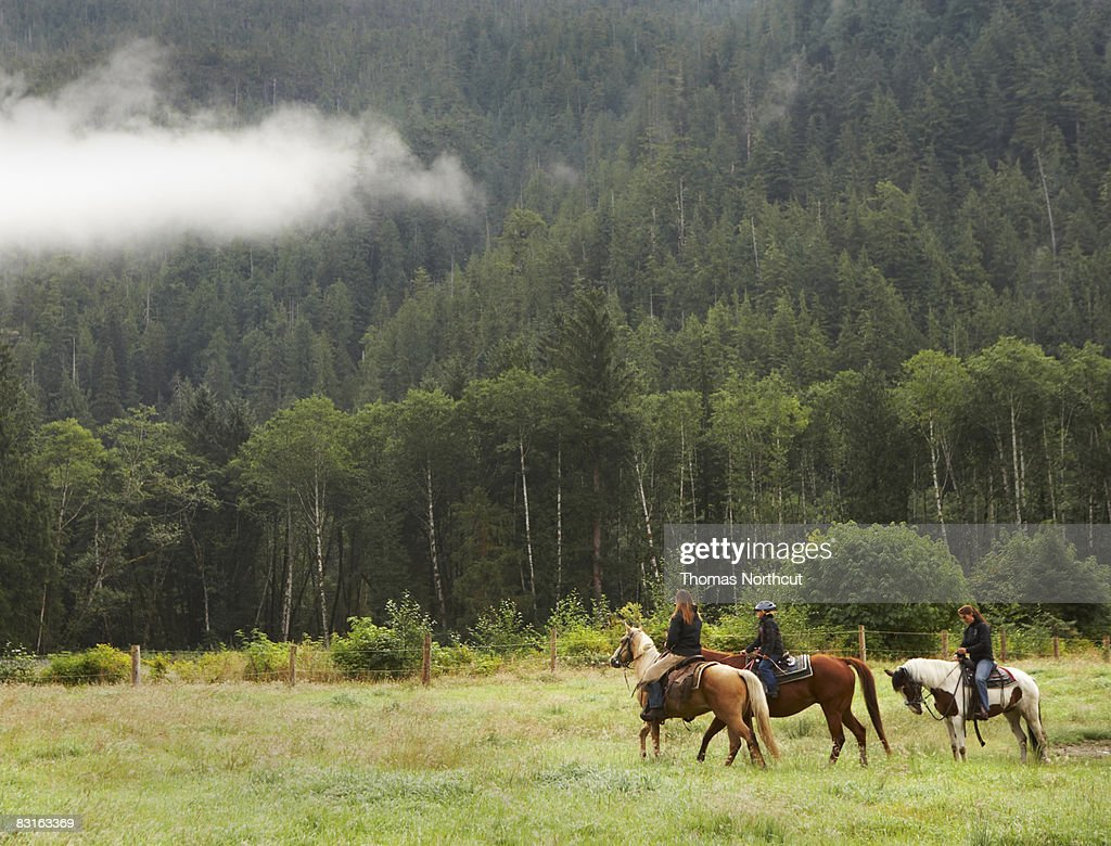 Two women and a girl horseback riding in field