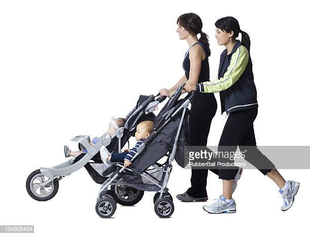 two women and their babies