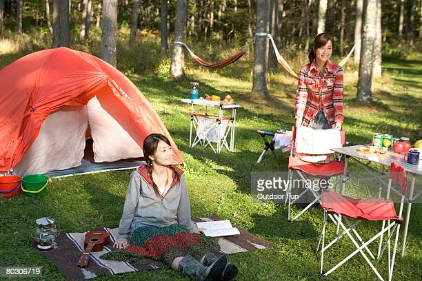 Two women camping Outdoor
