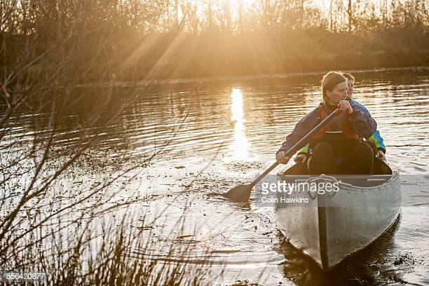 Two women canoeing