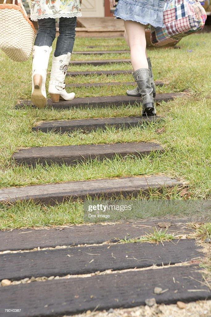 Two women climbing up steps : Stock Photo