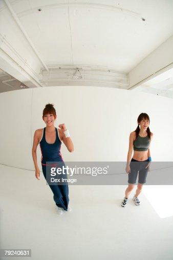 Two women dancing : Stock Photo