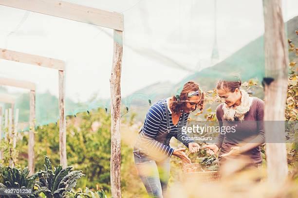 Duas mulheres em um jardim desfrutar
