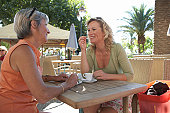 Two women having coffee at outdoor restaurant