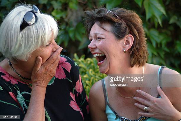 Two women having fun and laughing