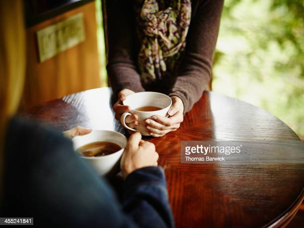 Two women having tea at table in cabin