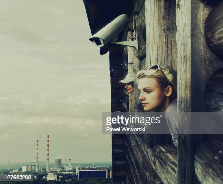 Two women in future world of industry : Stock Photo