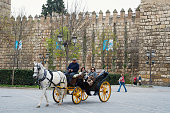 Two women in horse carriage outside the Alcazar