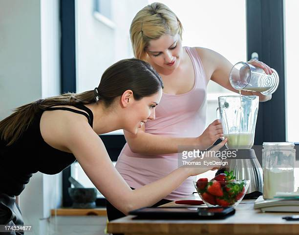 Two Women Making a Meal Replacement Shakes