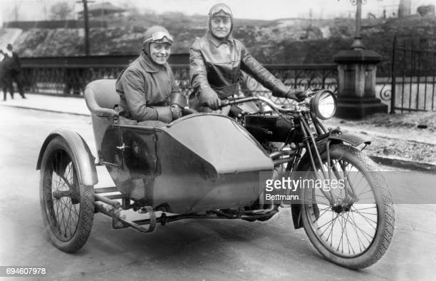 Two women on a motorcycle want to help the United States during WWI