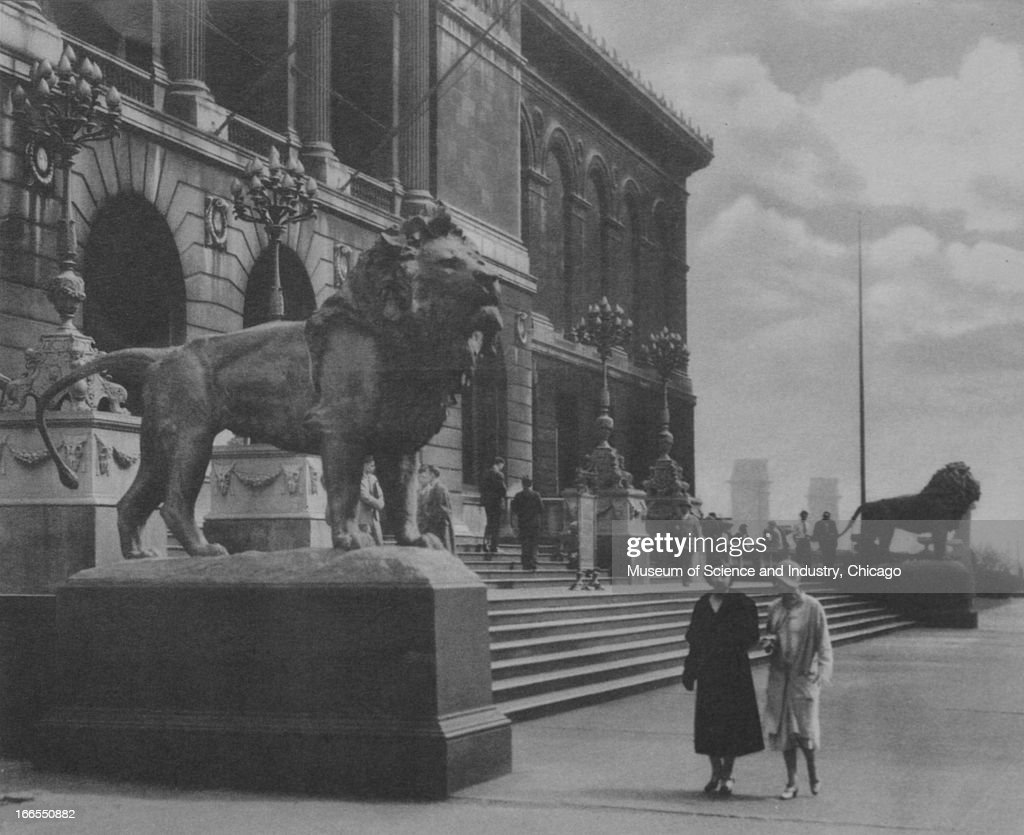 Two women pause in front of the Art Institute of Chicago at the Century of Progress International Exposition in Chicago Illinois The Century of...