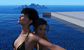 3d illustration of two women playing in a pool with the ocean and island in the background.