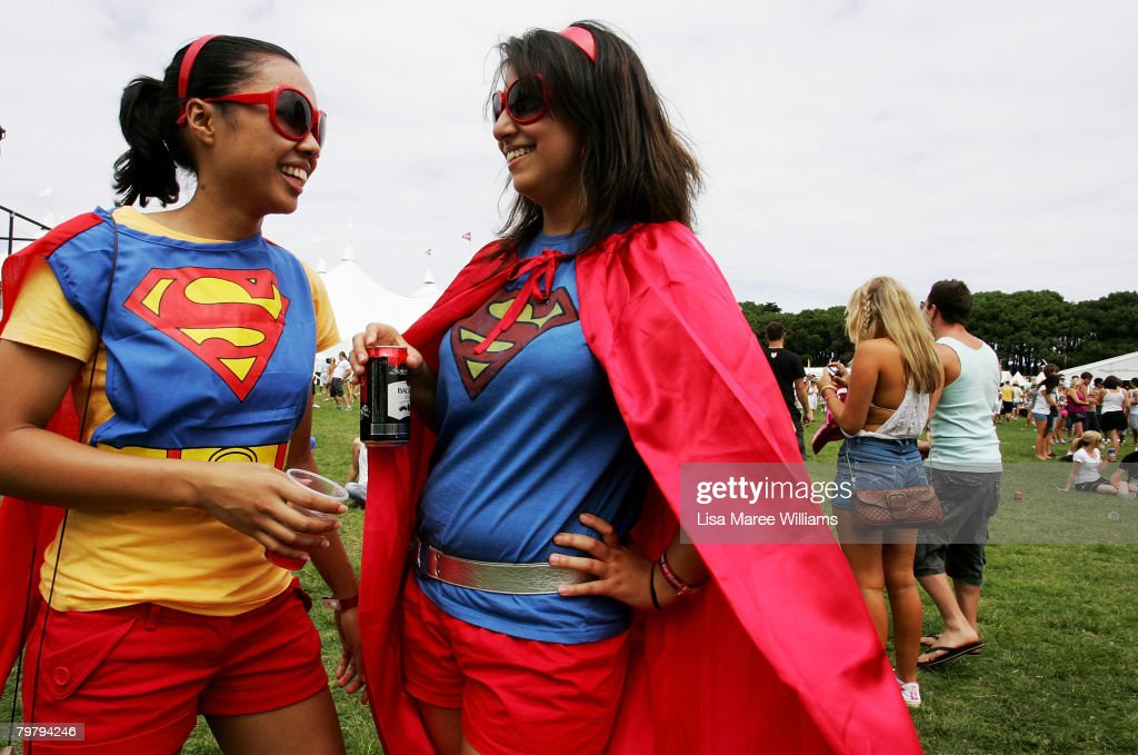 Two women pose in fancy dress costume during the Good Vibrations Festival in Centennial Park on February 16, 2008 in Sydney, Australia.