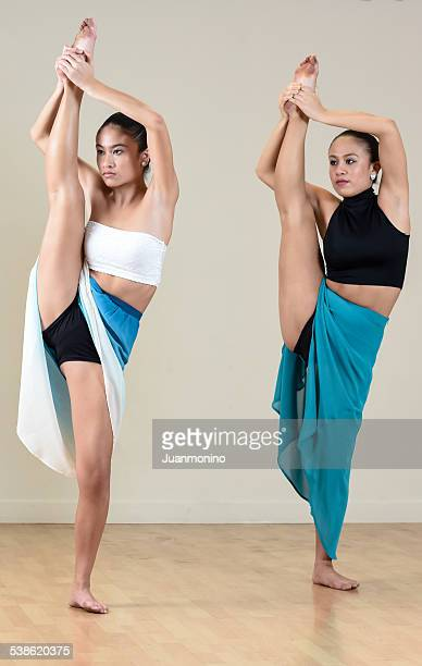 Two women practicing dance lessons