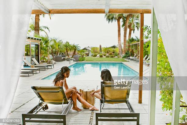 Two women relaxing at a spa resort