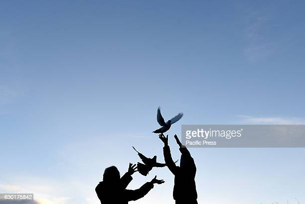Two women release homing pigeons The sun goes down one minute later