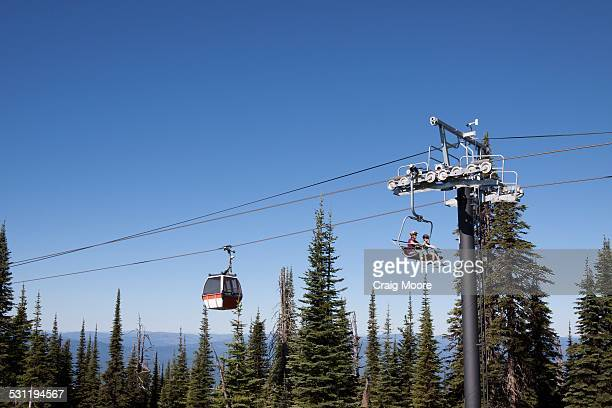 Two women ride a chairlift to mountain bike during summer in Whitefish, Montana.