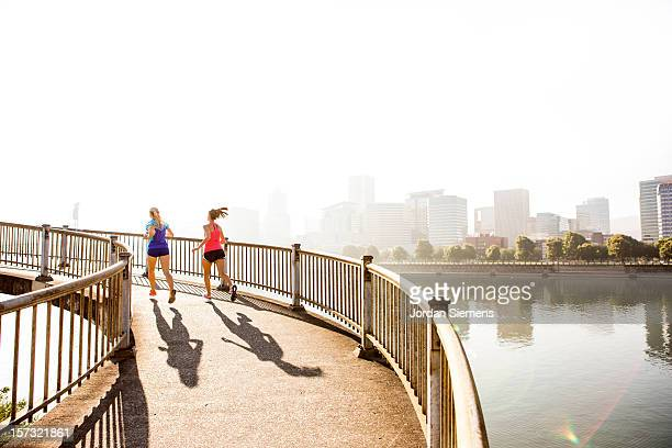 Two women running for exercise.