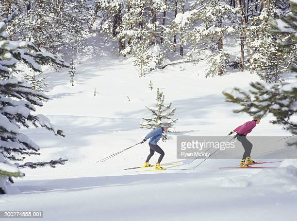 Two women skiing, elevated view