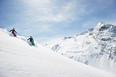 Two women skiing
