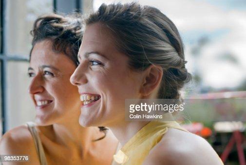 two women smiling : Stock Photo