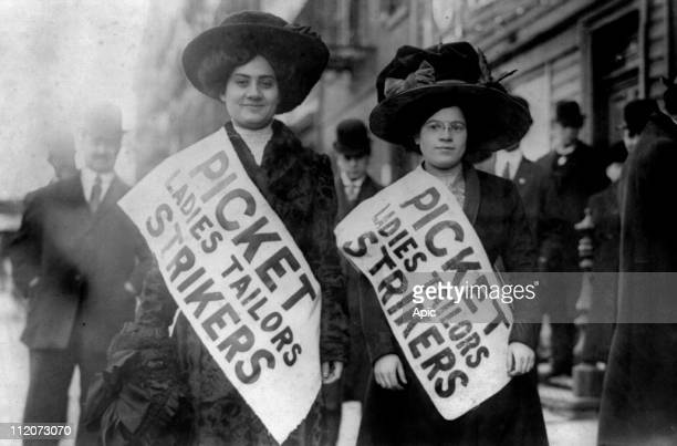 Two women strikers on picket line during the 'Uprising of the 20000' garment workers strike New York february 1910