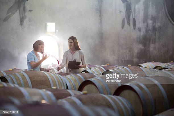 Two women tasting wine in cellar