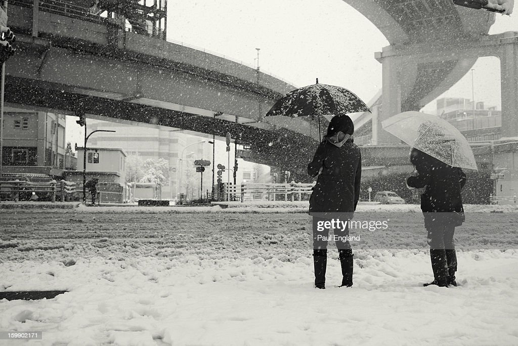 CONTENT] Two women wait for a traffic light in miserable conditions during a snow storm in Tokyo.
