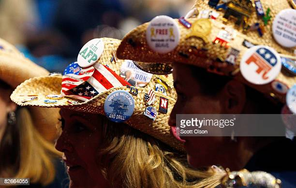 Two women wear button decorated cowboy hats on day four of the Republican National Convention at the Xcel Energy Center on September 4 2008 in St...