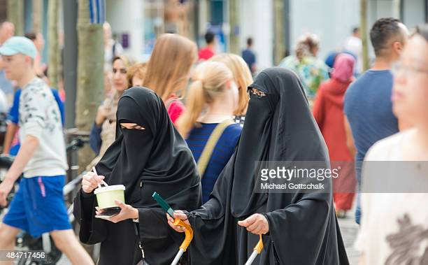 Two women wearing a Burka on August 14 2015 in Frankfurt Germany