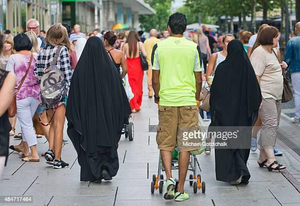 Two women wearing a Burka on August 14 2015 in Frankfurt Germany