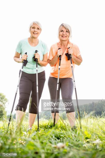 Two women with walking poles