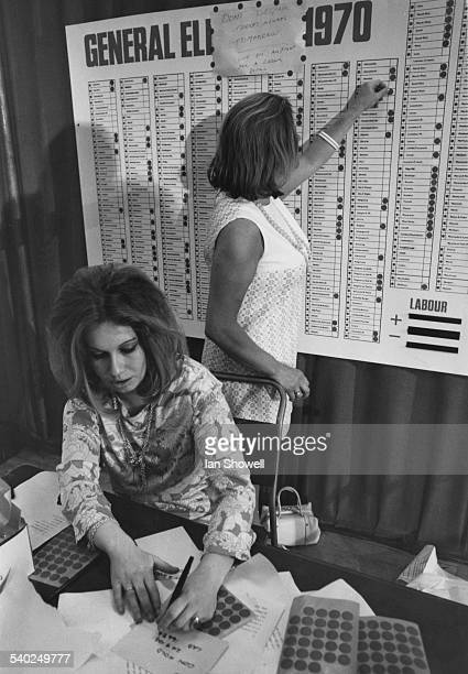 Two women working on the General Election chart at the Labour Party headquarters Transport House London 19th June 1970