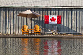 Two wooden chairs and Canadian flag agsint a wooden wall, reflected in the water
