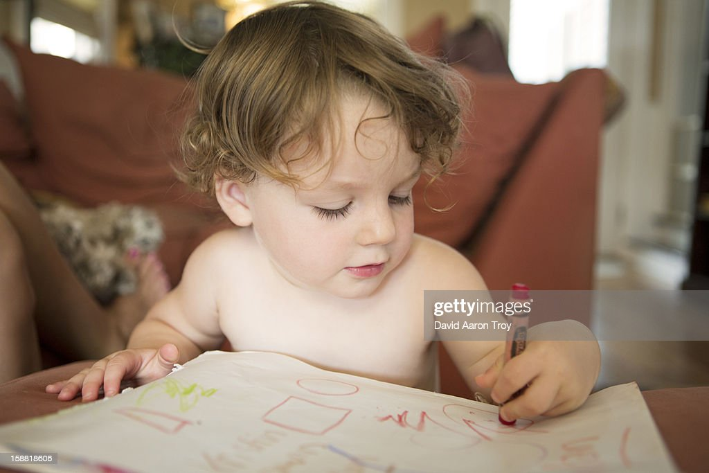 Two year old girl coloring : Stock Photo