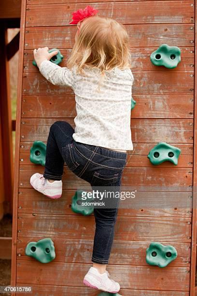 Two Year Old Girl Rock Climbing