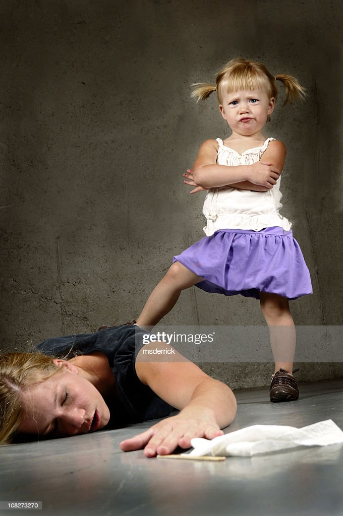 A two year old having a tantrum over her mother : Stock Photo