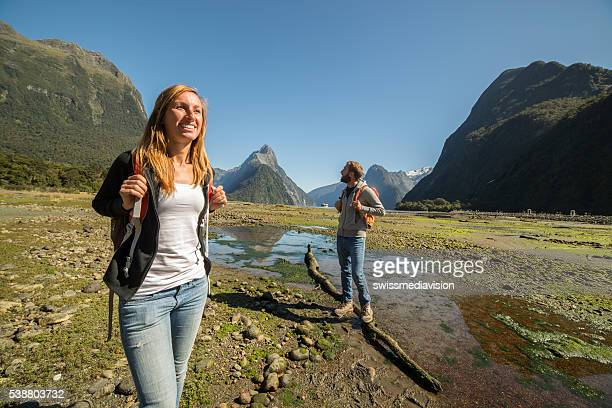 Two young adults hiking in New Zealand
